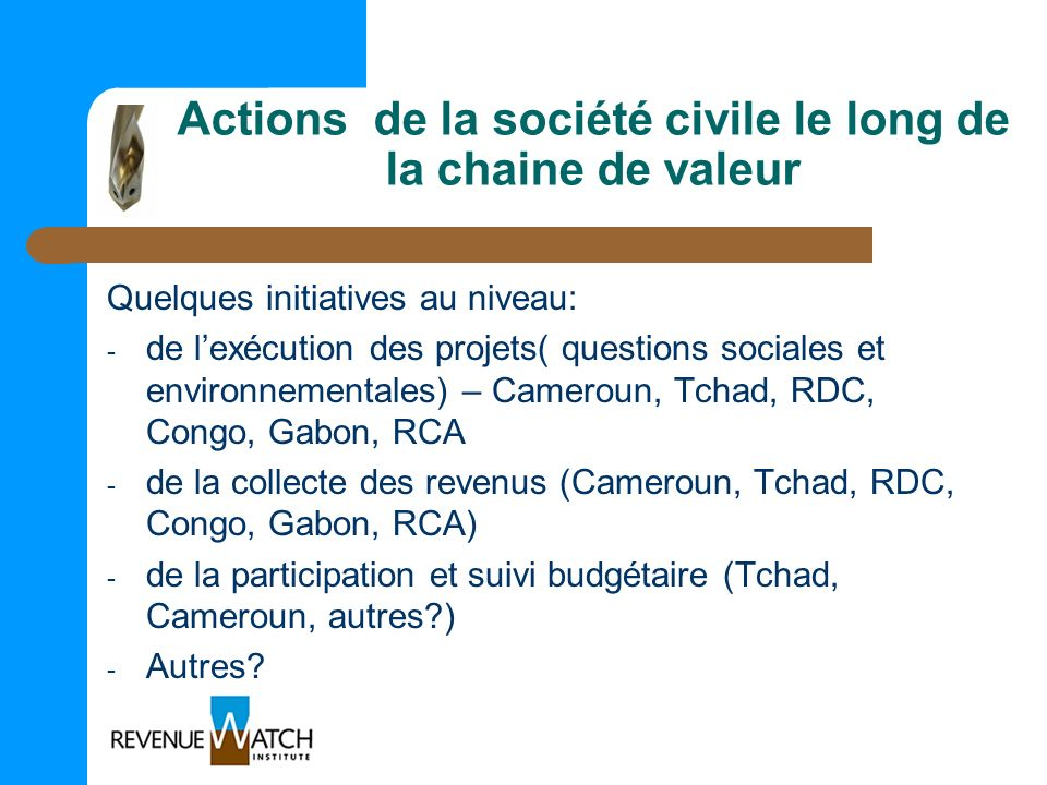 Actions de la société civile le long de la chaine de valeur