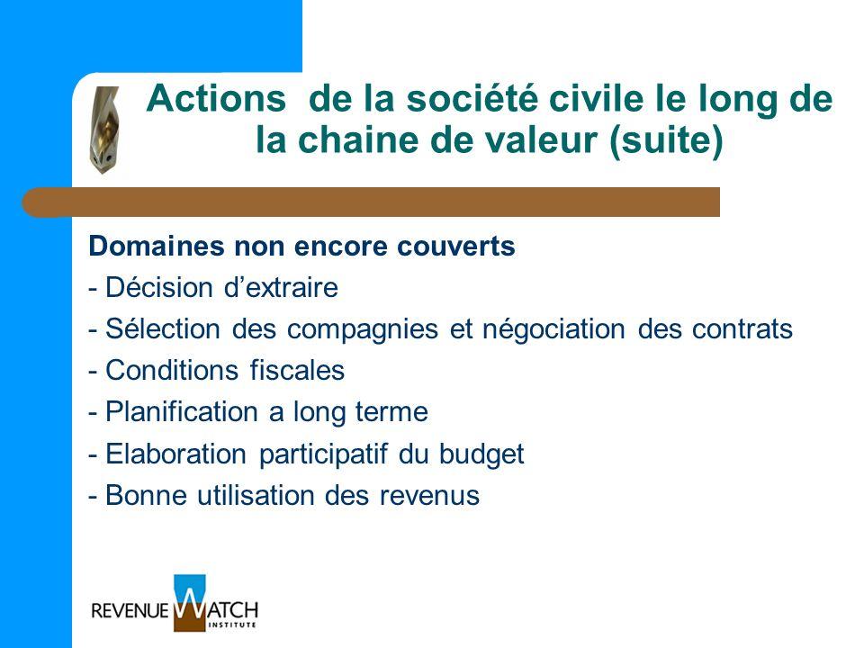 Actions de la société civile le long de la chaine de valeur (suite)
