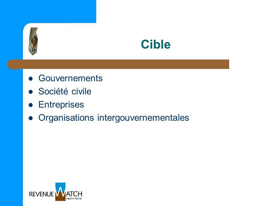 Cible Gouvernements Société civile Entreprises