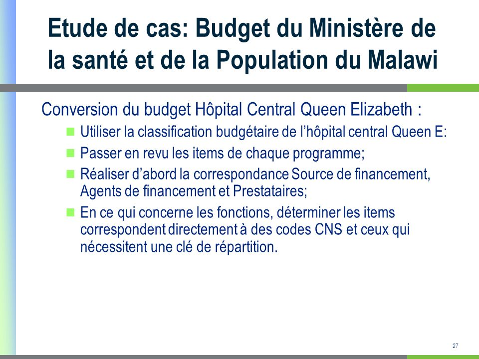 Etude de cas: Budget du Ministère de la santé et de la Population du Malawi