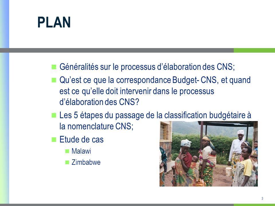 PLAN Généralités sur le processus d'élaboration des CNS;