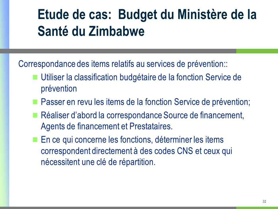Etude de cas: Budget du Ministère de la Santé du Zimbabwe