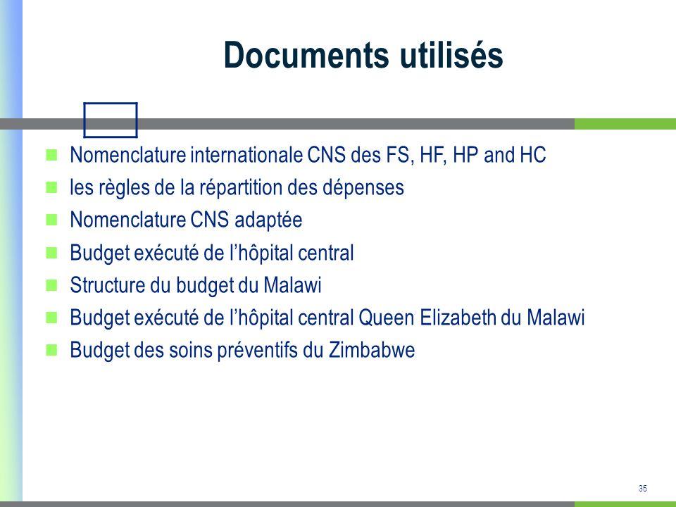 Documents utilisés Nomenclature internationale CNS des FS, HF, HP and HC. les règles de la répartition des dépenses.
