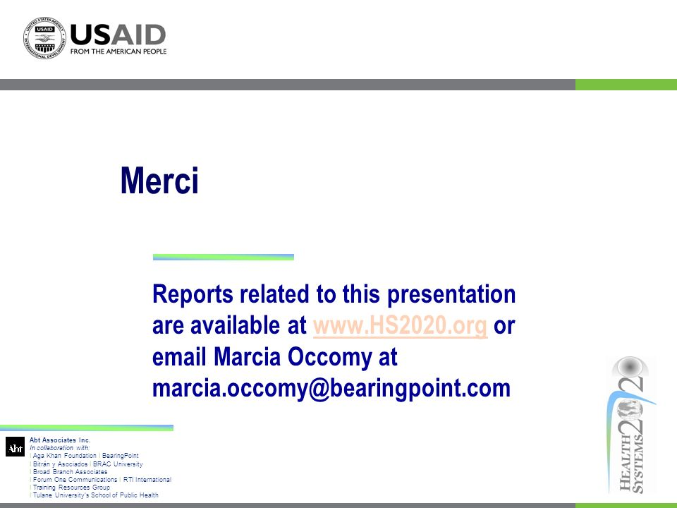Merci Reports related to this presentation