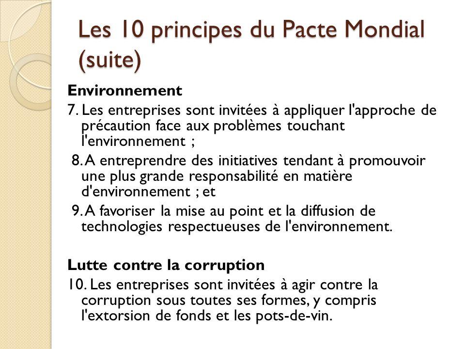 Les 10 principes du Pacte Mondial (suite)