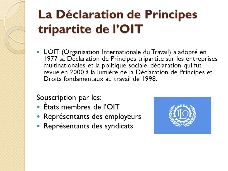La Déclaration de Principes tripartite de l'OIT