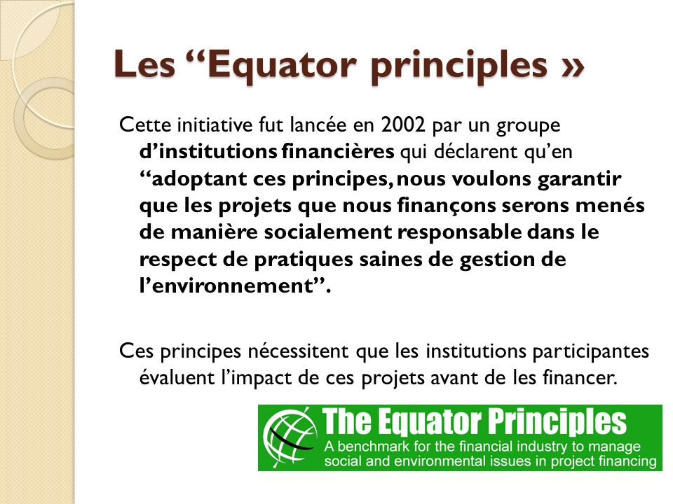Les Equator principles »