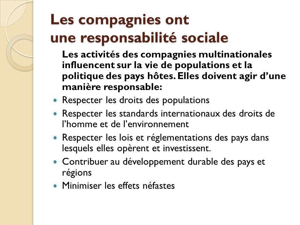 Les compagnies ont une responsabilité sociale