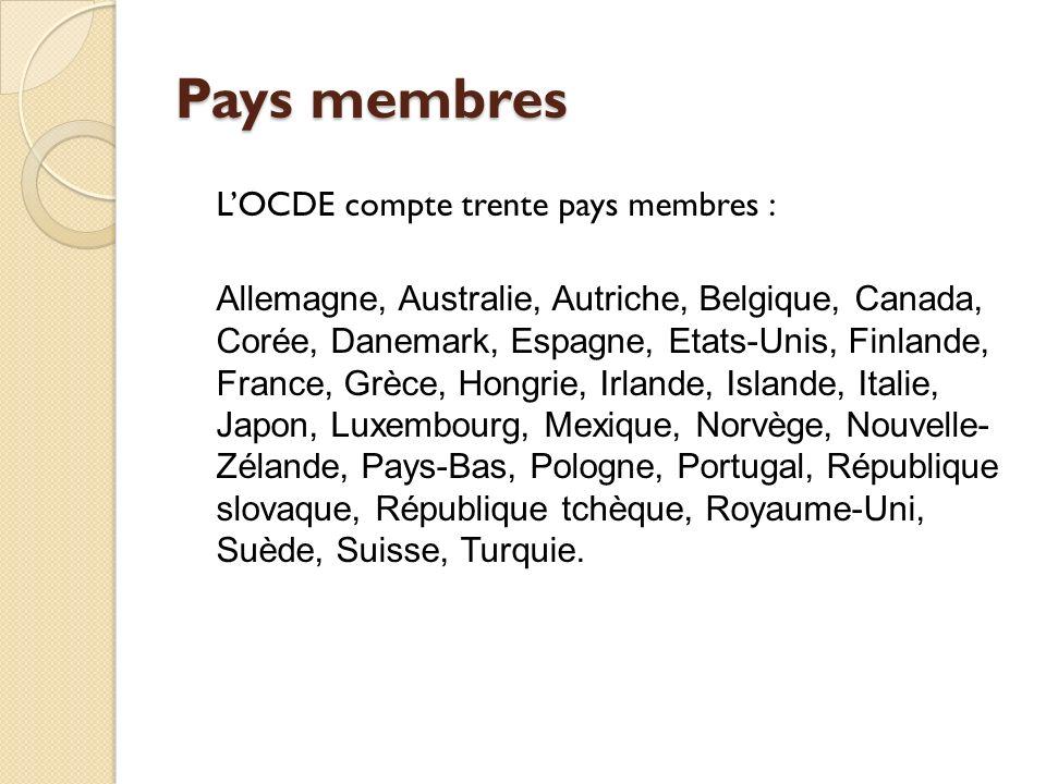 Pays membres L'OCDE compte trente pays membres :