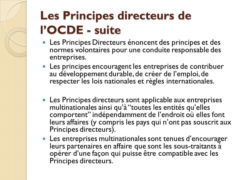 Les Principes directeurs de l'OCDE - suite