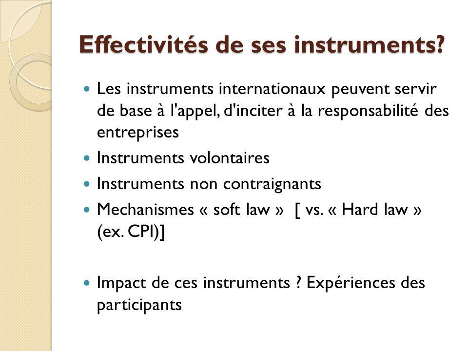 Effectivités de ses instruments