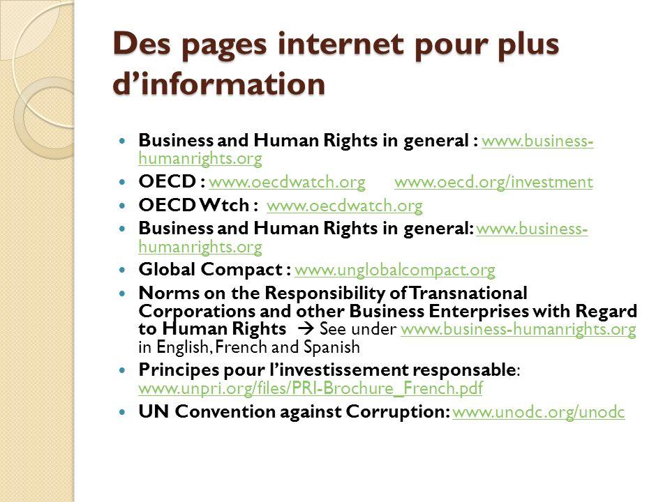 Des pages internet pour plus d'information