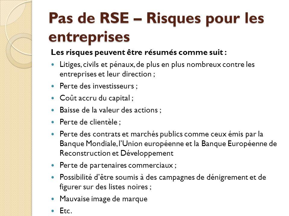 Pas de RSE – Risques pour les entreprises
