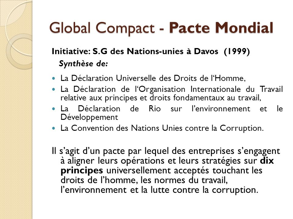 Global Compact - Pacte Mondial