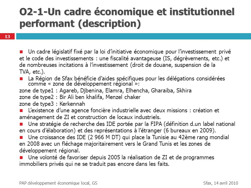 O2-1-Un cadre économique et institutionnel performant (description)
