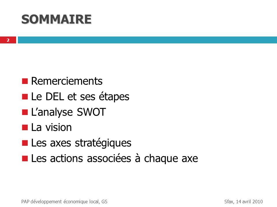 SOMMAIRE Remerciements Le DEL et ses étapes L'analyse SWOT La vision