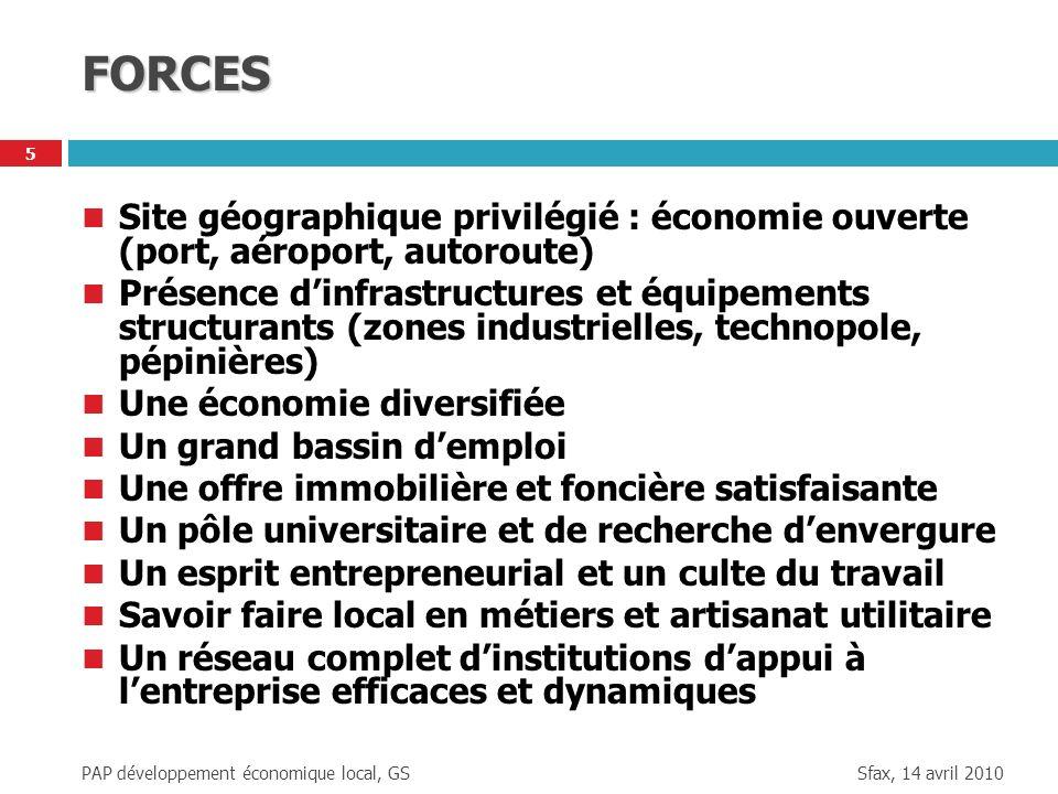 FORCES Site géographique privilégié : économie ouverte (port, aéroport, autoroute)