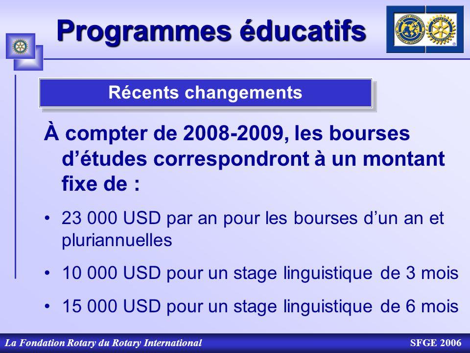 Programmes éducatifs Récents changements. À compter de 2008-2009, les bourses d'études correspondront à un montant fixe de :