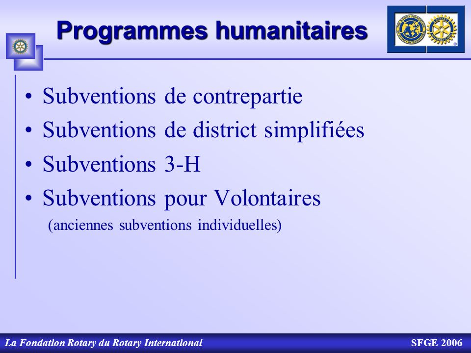Programmes humanitaires