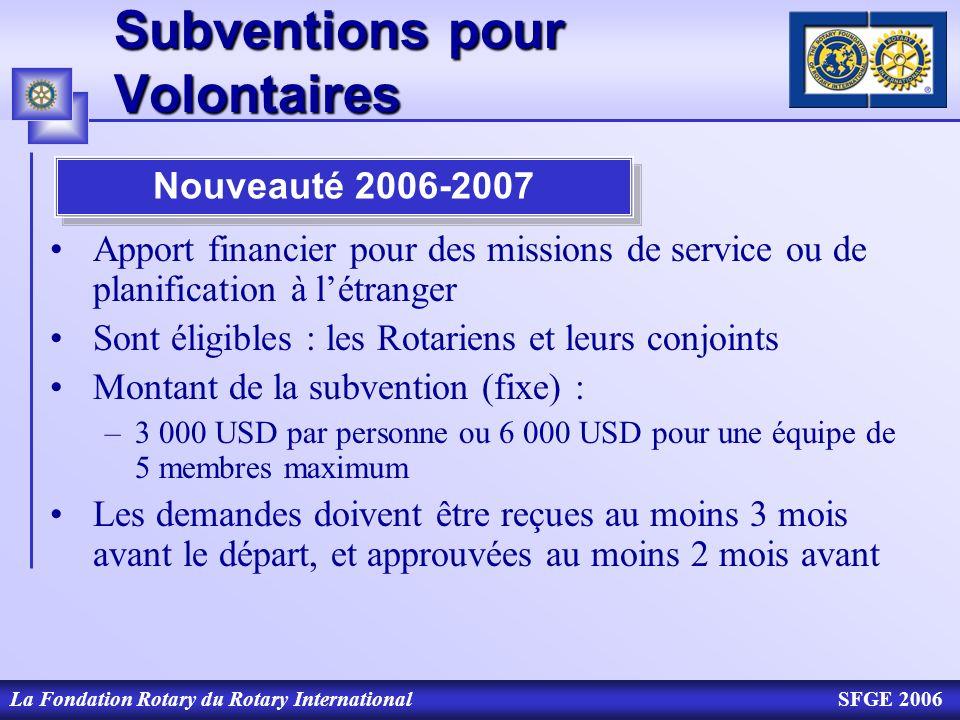 Subventions pour Volontaires