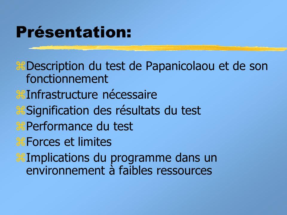 Présentation: Description du test de Papanicolaou et de son fonctionnement. Infrastructure nécessaire.
