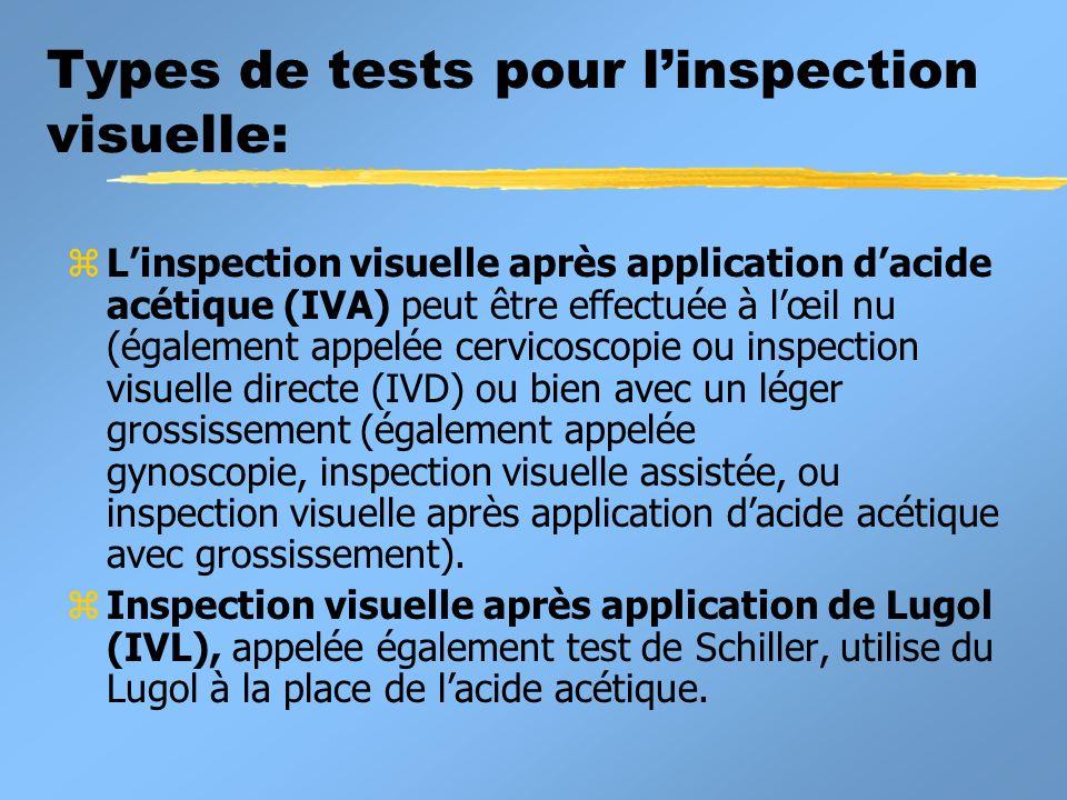 Types de tests pour l'inspection visuelle: