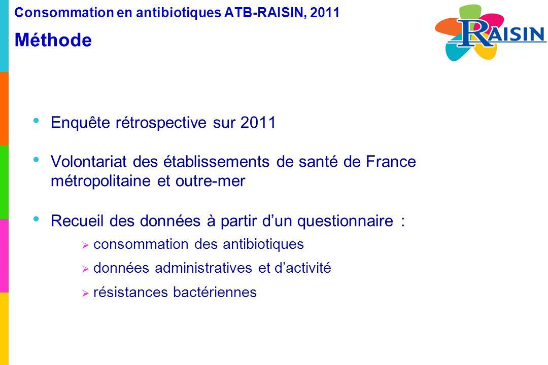 Consommation en antibiotiques ATB-RAISIN, 2011 Méthode