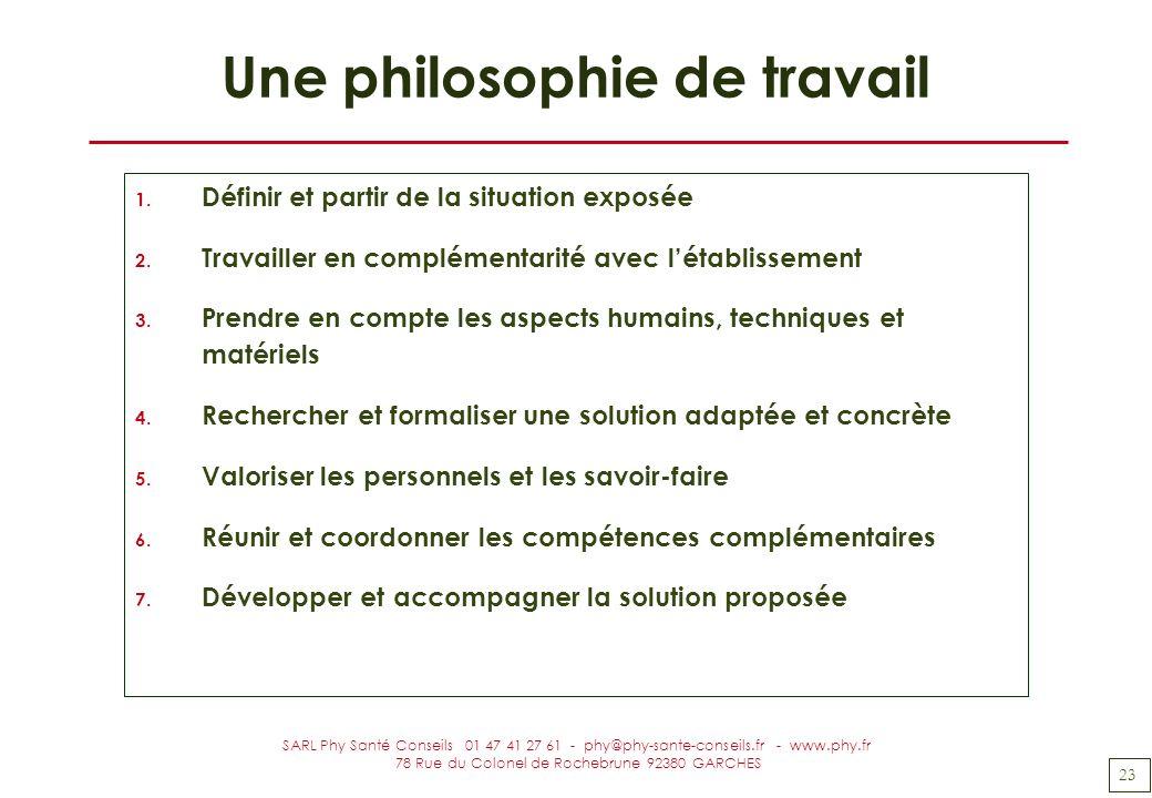 Une philosophie de travail