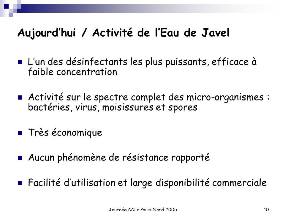 Aujourd'hui / Activité de l'Eau de Javel
