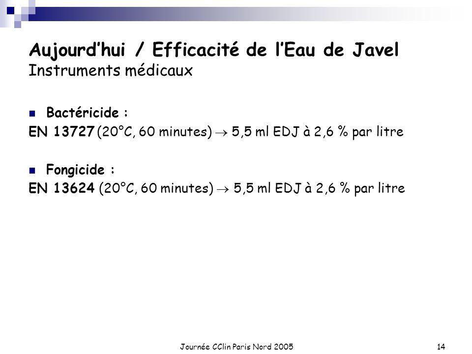 Aujourd'hui / Efficacité de l'Eau de Javel Instruments médicaux