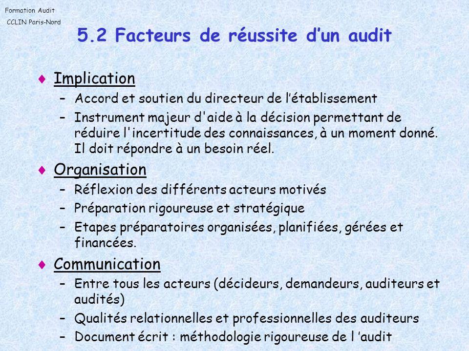 5.2 Facteurs de réussite d'un audit