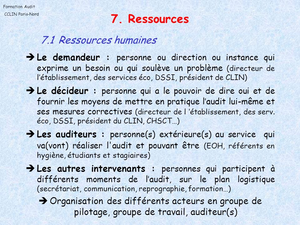 7. Ressources 7.1 Ressources humaines