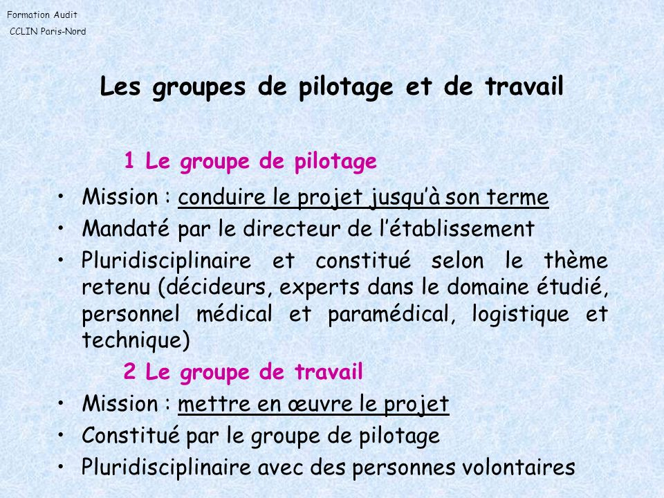 Les groupes de pilotage et de travail