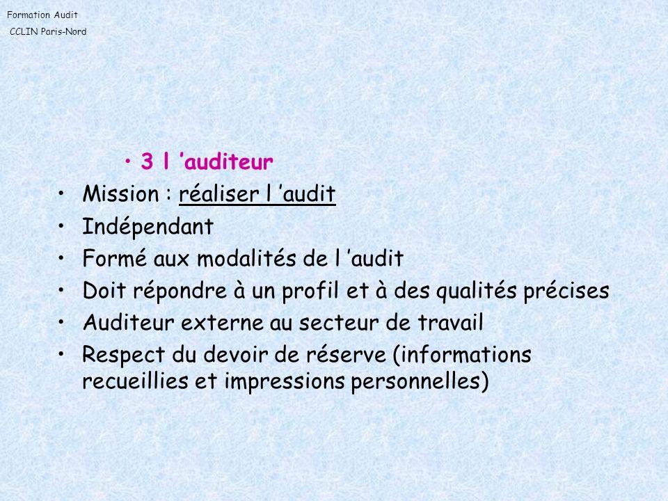 3 l 'auditeur Mission : réaliser l 'audit. Indépendant. Formé aux modalités de l 'audit. Doit répondre à un profil et à des qualités précises.