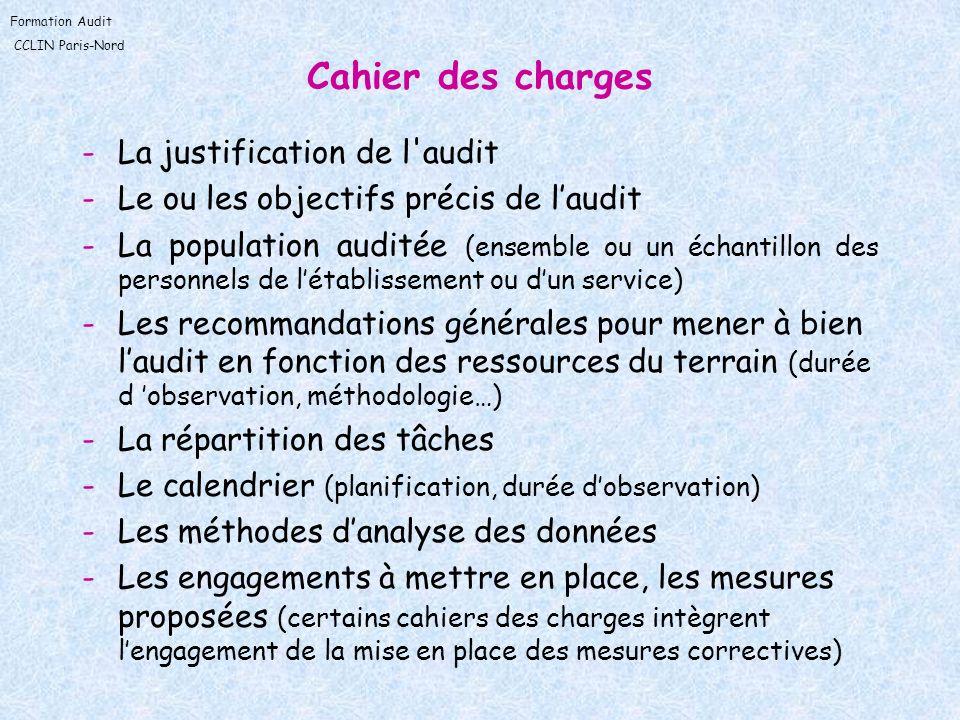 Cahier des charges La justification de l audit