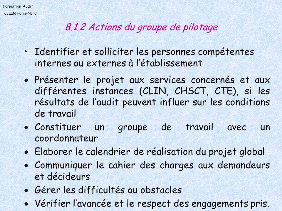 8.1.2 Actions du groupe de pilotage