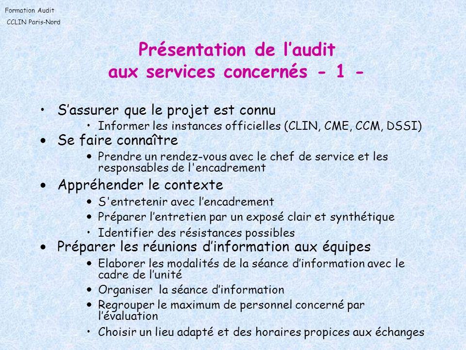 Présentation de l'audit aux services concernés - 1 -