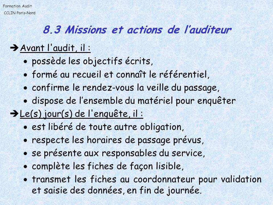 8.3 Missions et actions de l'auditeur