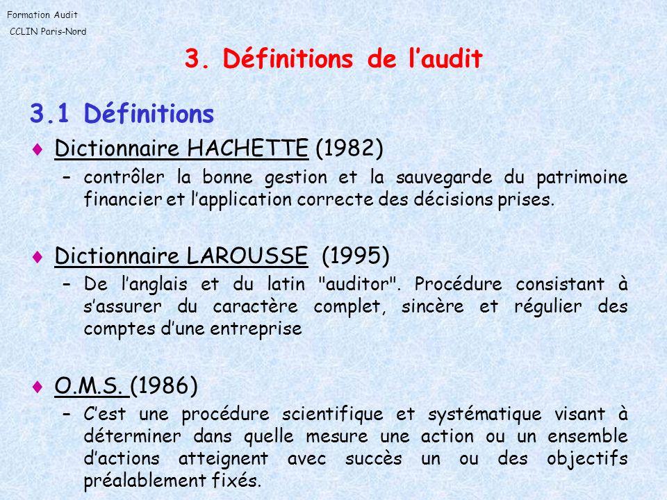 3. Définitions de l'audit