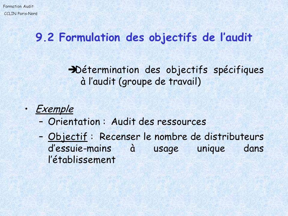 9.2 Formulation des objectifs de l'audit