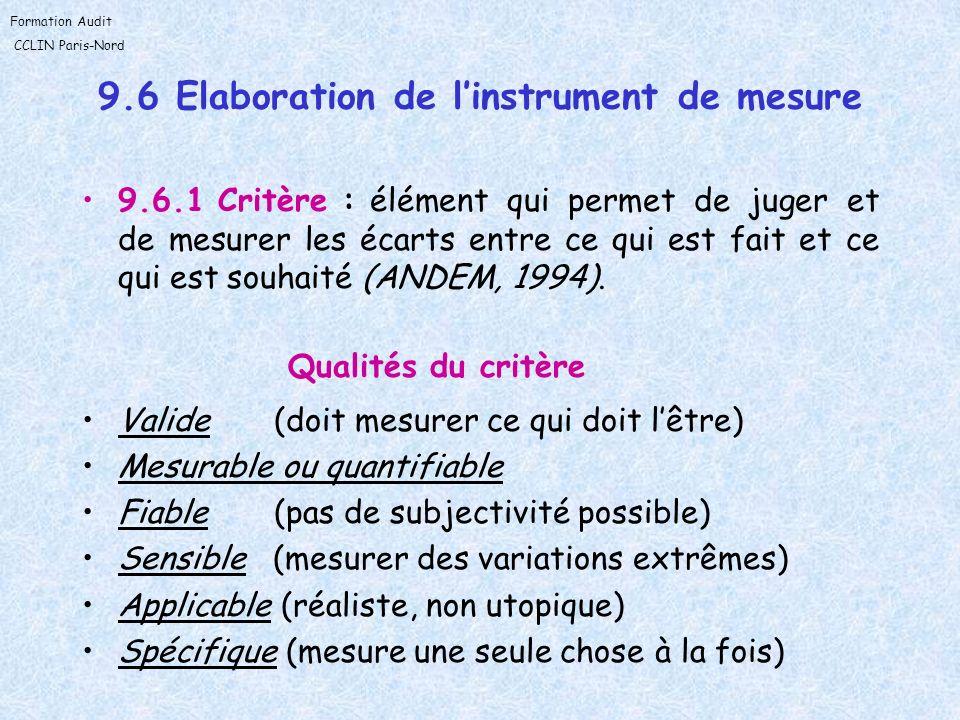 9.6 Elaboration de l'instrument de mesure