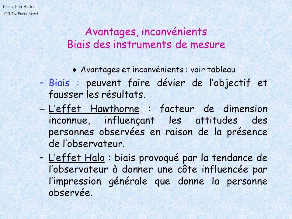Avantages, inconvénients Biais des instruments de mesure