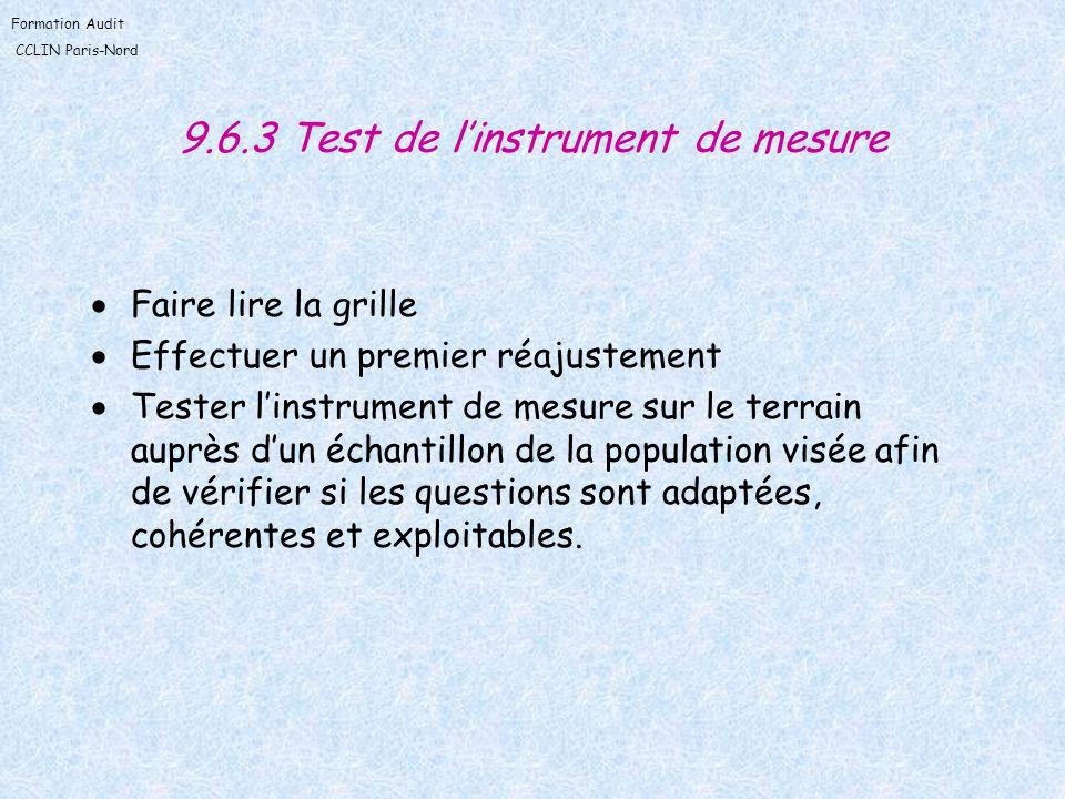 9.6.3 Test de l'instrument de mesure