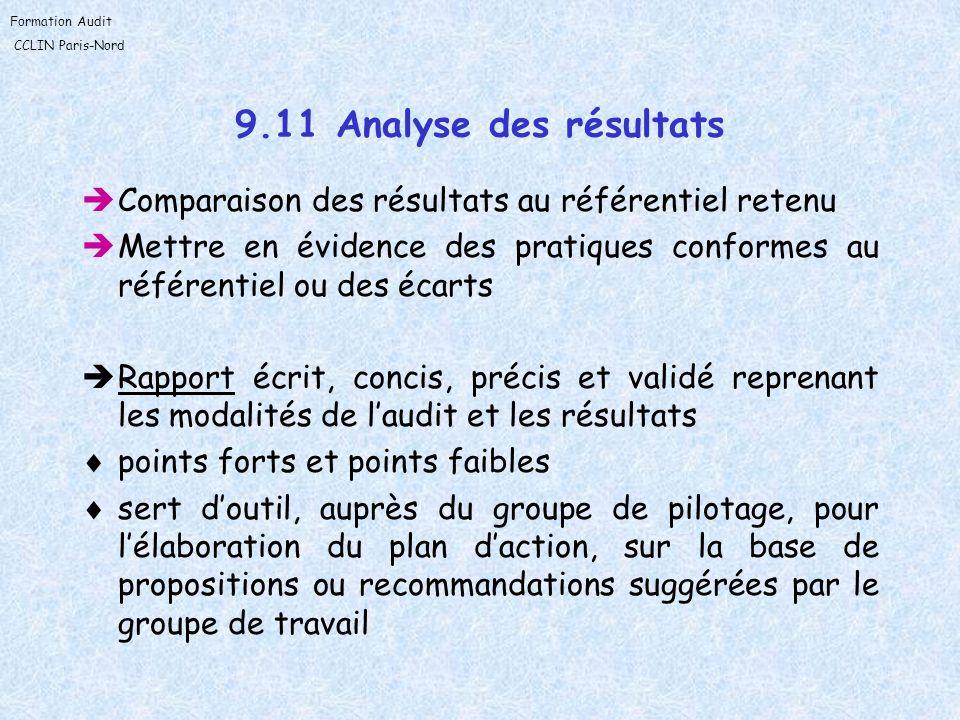 9.11 Analyse des résultats Comparaison des résultats au référentiel retenu. Mettre en évidence des pratiques conformes au référentiel ou des écarts.