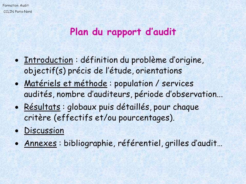 Plan du rapport d'audit