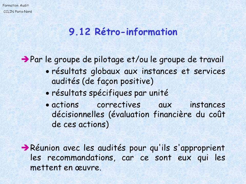 9.12 Rétro-informationPar le groupe de pilotage et/ou le groupe de travail. résultats globaux aux instances et services audités (de façon positive)