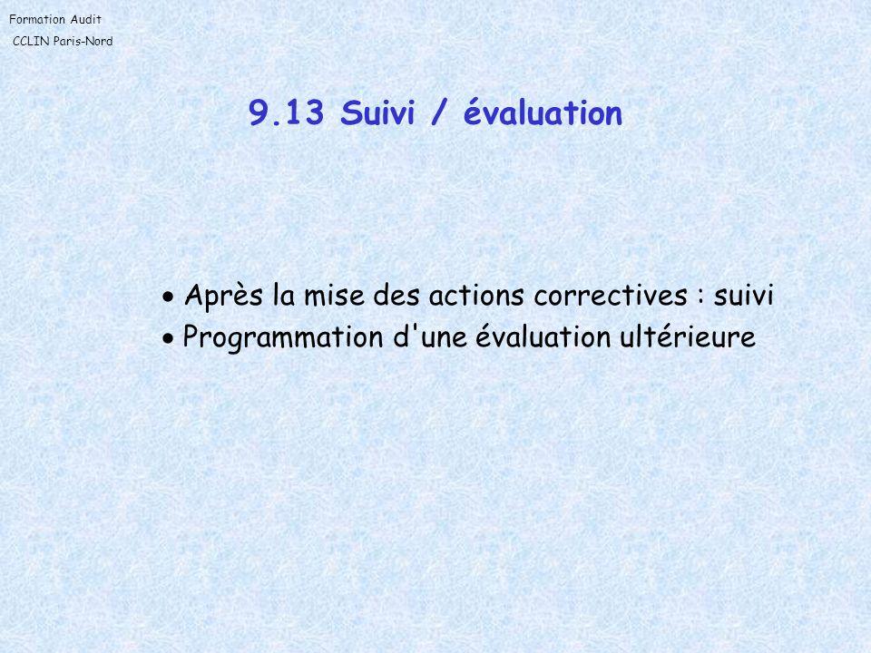 9.13 Suivi / évaluation Après la mise des actions correctives : suivi