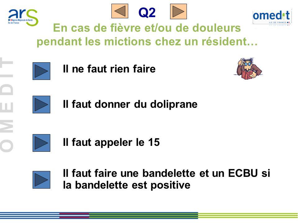 Q2 En cas de fièvre et/ou de douleurs pendant les mictions chez un résident…