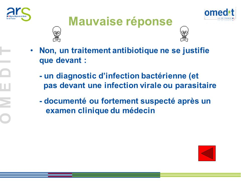 Mauvaise réponse Non, un traitement antibiotique ne se justifie que devant : - un diagnostic d'infection bactérienne (et.