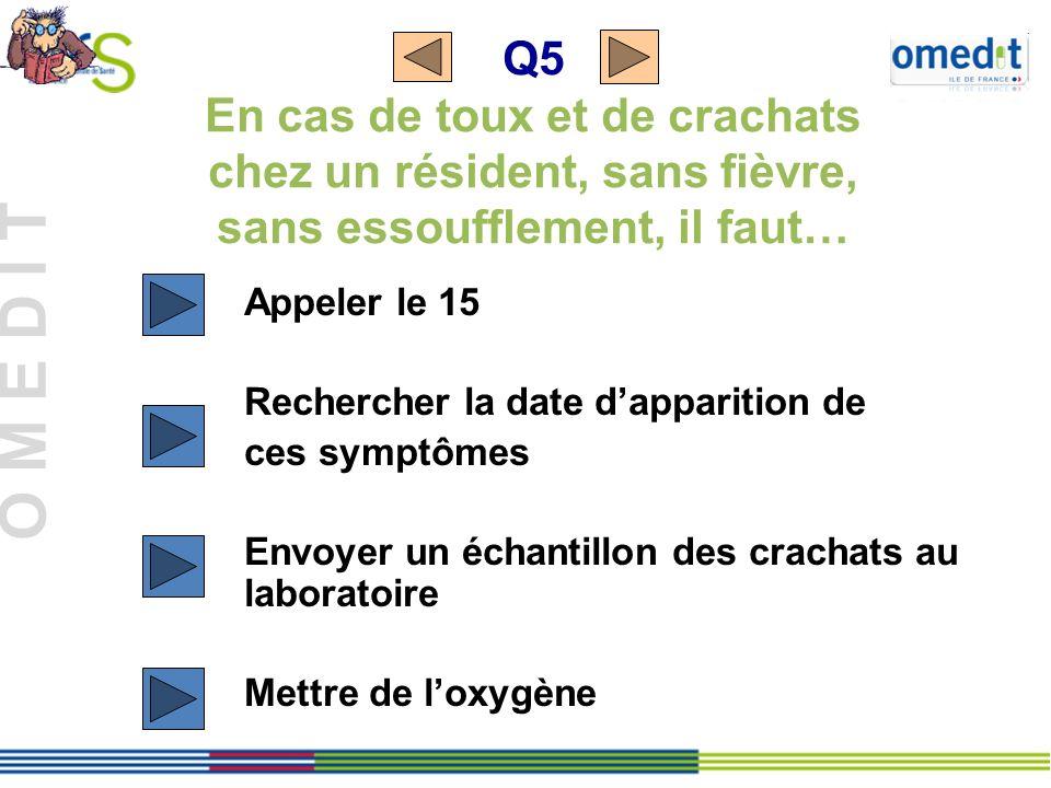 Q5 En cas de toux et de crachats chez un résident, sans fièvre, sans essoufflement, il faut…